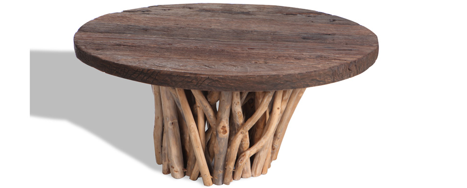 Driftwood and teak top table