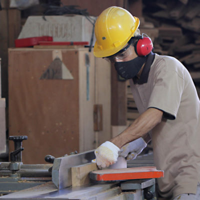 Cutting wood in our factory