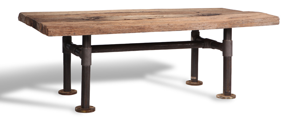 A Solid Wood Table Top In Teak With Steel Metal Legs. Teakwood Which Is  Sourced From Government Managed Plantations In Indonesia.
