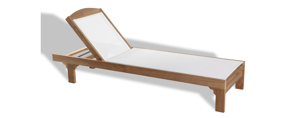 Teak and Batyline Sunlounger
