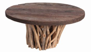 Railroad Top Coffee Table With Teak Branch Base